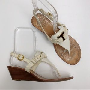 Tory Burch Casey White Wedge T-Strap Sandals